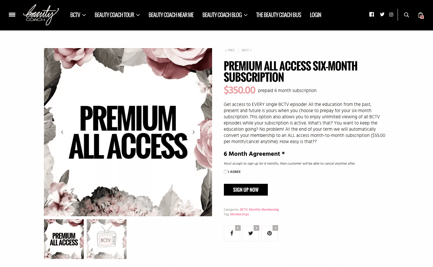 Single subscription page